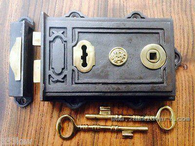 quality davenport victorian style cast iron & brass rim lock  400299678335